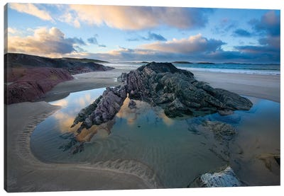 Rock Outcrops, Glassillaun Beach, Connemara, County Galway, Connacht Province, Republic Of Ireland Canvas Art Print