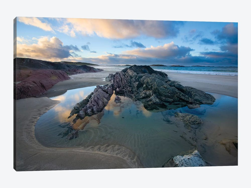 Rock Outcrops, Glassillaun Beach, Connemara, County Galway, Connacht Province, Republic Of Ireland by Gareth McCormack 1-piece Canvas Print