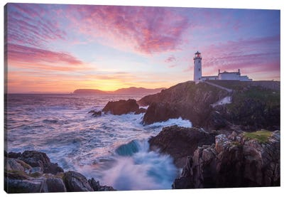 Sunrise, Fanad Head Lighthouse, County Donegal, Ulster Province, Republic Of Ireland Canvas Art Print