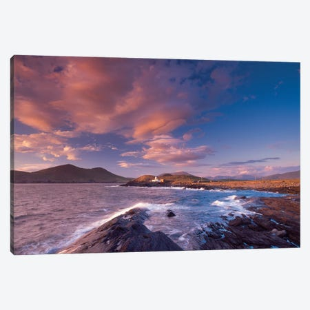 Sunset Over Cromwell Point Lighthouse, Valentia Island, County Kerry, Munster Province, Republic Of Ireland Canvas Print #GAR86} by Gareth McCormack Art Print