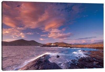Sunset Over Cromwell Point Lighthouse, Valentia Island, County Kerry, Munster Province, Republic Of Ireland Canvas Art Print