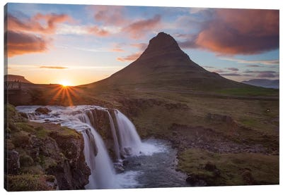 Sunset Over Kirkjufell And Kirkjufellsfoss I, Grundarfjordur, Snaefellsnes Peninsula, Vesturland, Iceland Canvas Art Print