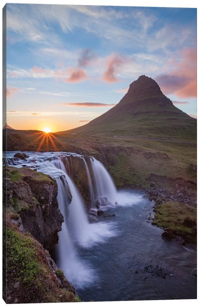 Sunset Over Kirkjufell And Kirkjufellsfoss II, Grundarfjordur, Snaefellsnes Peninsula, Vesturland, Iceland Canvas Art Print
