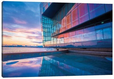 Sunset Reflection I, Harpa Concert Hall, Reykjavik, Hofudborgarsvaedi, Iceland Canvas Art Print