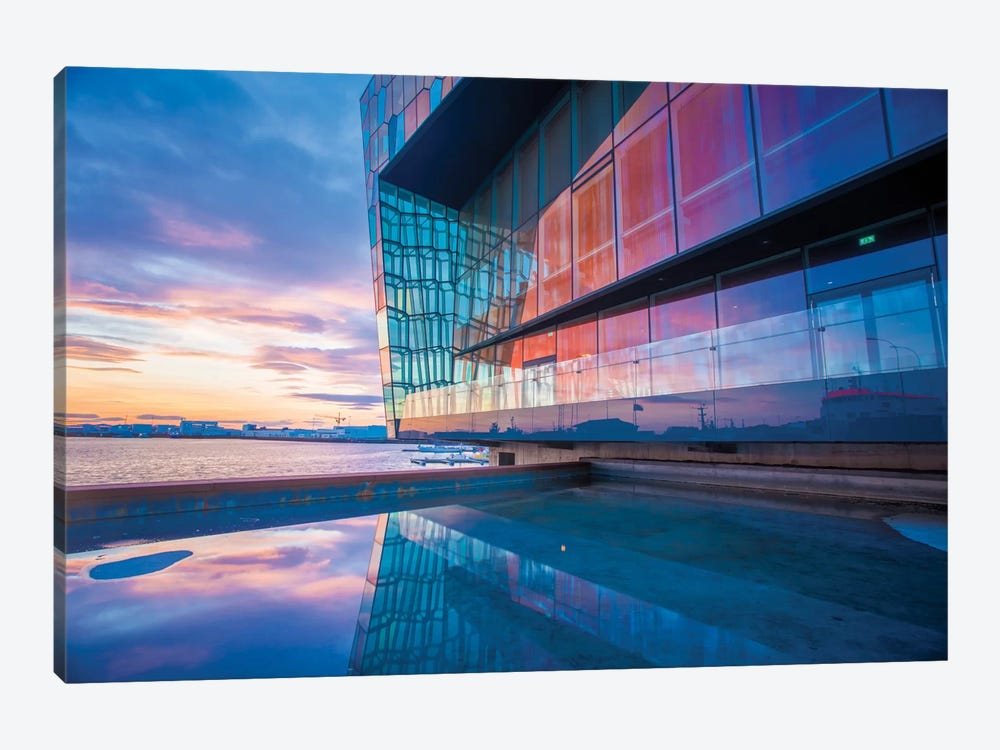 Sunset Reflection I, Harpa Concert Hall, Reykjavik, Hofudborgarsvaedi, Iceland by Gareth McCormack 1-piece Canvas Art