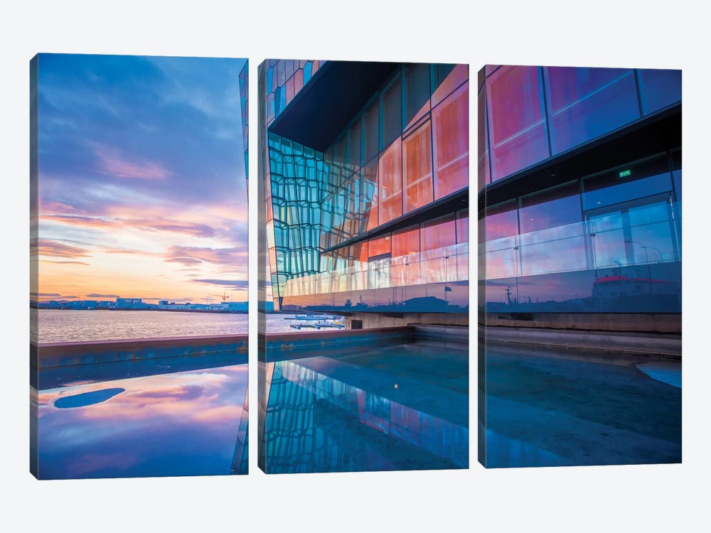 Sunset Reflection I, Harpa Concert Hall, Reykjavik, Hofudborgarsvaedi, Iceland by Gareth McCormack 3-piece Canvas Art