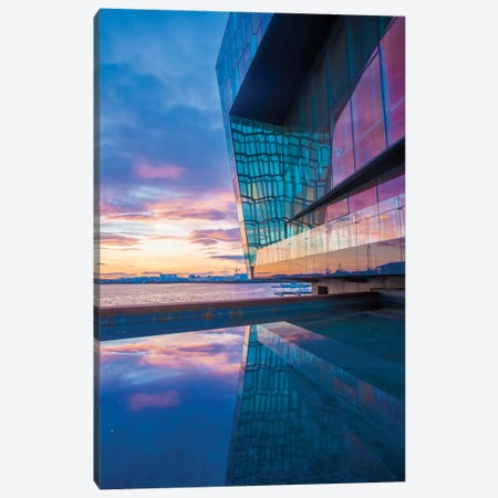 Sunset Reflection II, Harpa Concert Hall, Reykjavik, Hofudborgarsvaedi, Iceland Canvas Print #GAR90} by Gareth McCormack Art Print