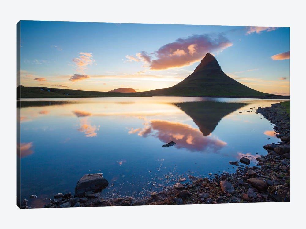 Sunset Reflection, Kirkjufell, Grundarfjordur, Snaefellsnes Peninsula, Vesturland, Iceland by Gareth McCormack 1-piece Canvas Art Print