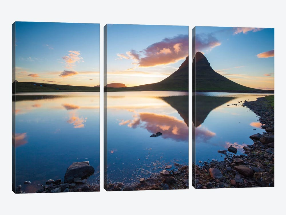 Sunset Reflection, Kirkjufell, Grundarfjordur, Snaefellsnes Peninsula, Vesturland, Iceland by Gareth McCormack 3-piece Canvas Art Print