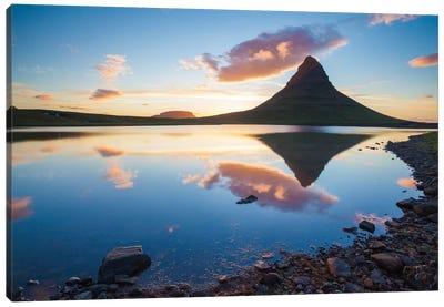 Sunset Reflection, Kirkjufell, Grundarfjordur, Snaefellsnes Peninsula, Vesturland, Iceland Canvas Art Print