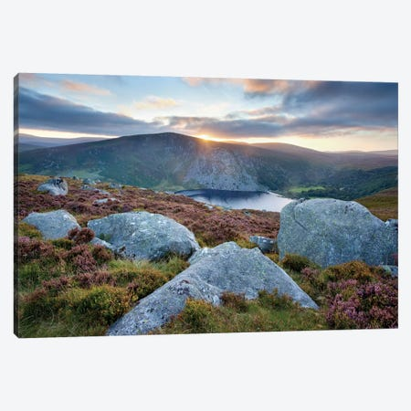 Sunset, Lough Tay, Wicklow Mountains, County Wicklow, Leinster Province, Republic Of Ireland Canvas Print #GAR93} by Gareth McCormack Canvas Print