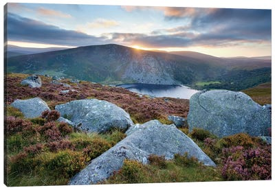Sunset, Lough Tay, Wicklow Mountains, County Wicklow, Leinster Province, Republic Of Ireland Canvas Art Print