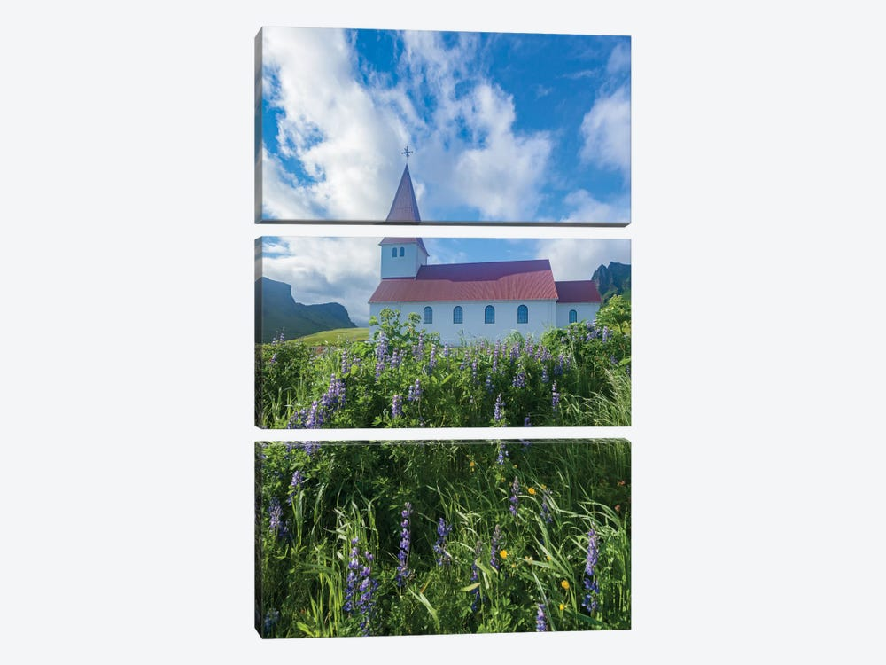 Town Church I, Vik I Myrdal, Sudurland, Iceland by Gareth McCormack 3-piece Canvas Art Print