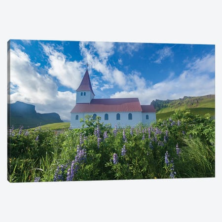 Town Church II, Vik I Myrdal, Sudurland, Iceland Canvas Print #GAR96} by Gareth McCormack Canvas Artwork