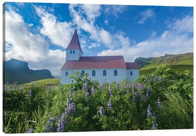 Town Church II, Vik I Myrdal, Sudurland, Iceland Canvas Art Print