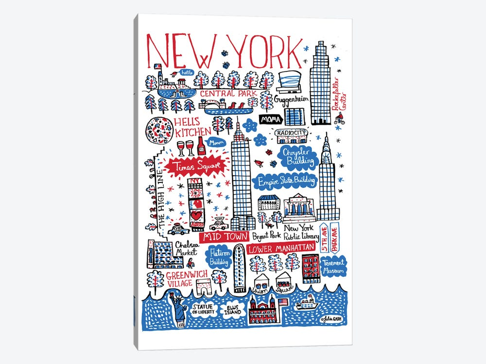 New York by Julia Gash 1-piece Canvas Wall Art