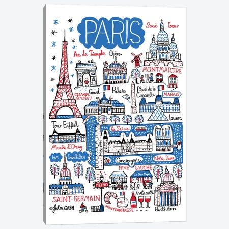 Paris Canvas Print #GAS14} by Julia Gash Canvas Art Print