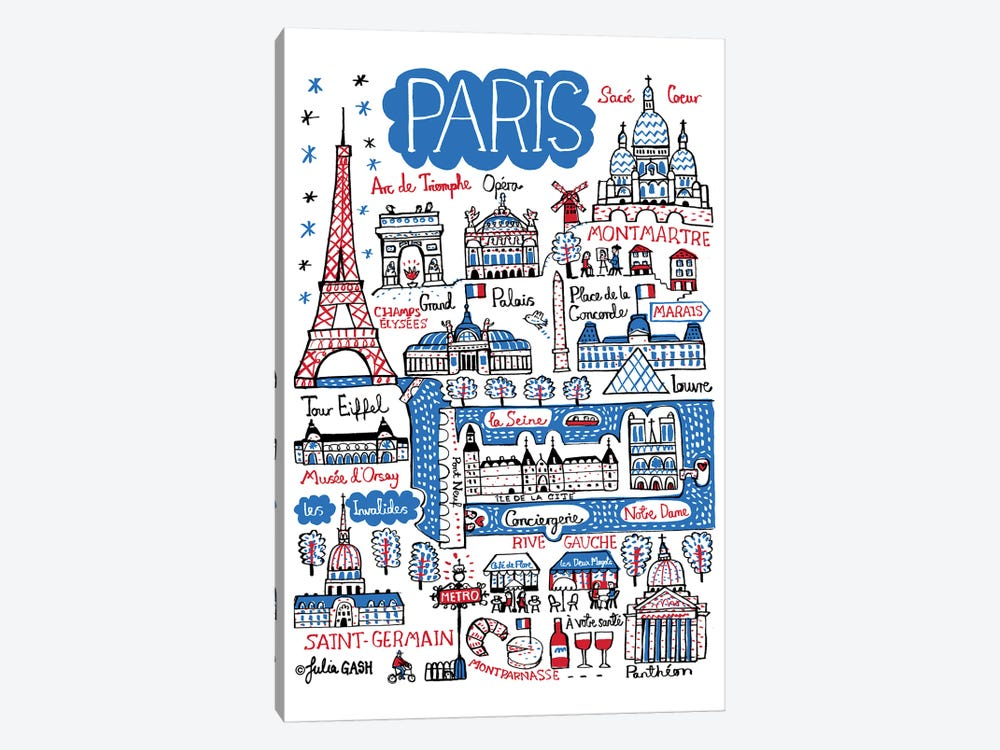 Paris by Julia Gash 1-piece Canvas Print