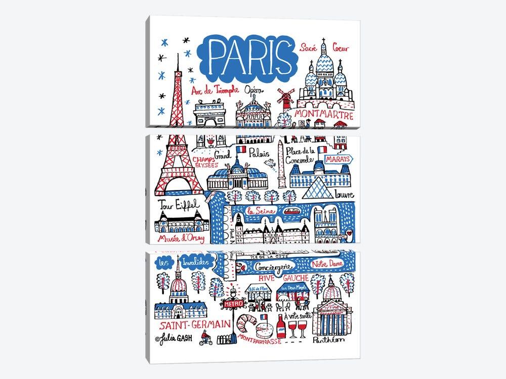 Paris by Julia Gash 3-piece Canvas Art Print
