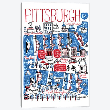 Pittsburgh Canvas Print #GAS16} by Julia Gash Art Print