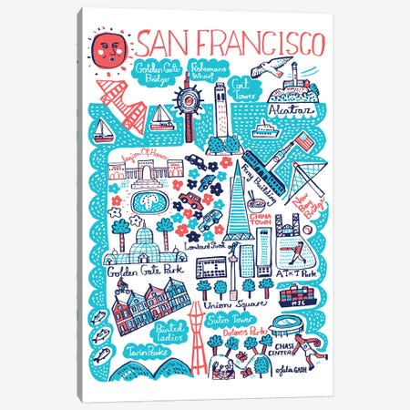 San Francisco Canvas Print #GAS18} by Julia Gash Canvas Wall Art