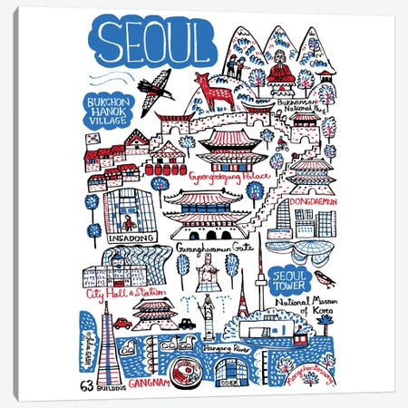 Seoul Canvas Print #GAS19} by Julia Gash Canvas Artwork