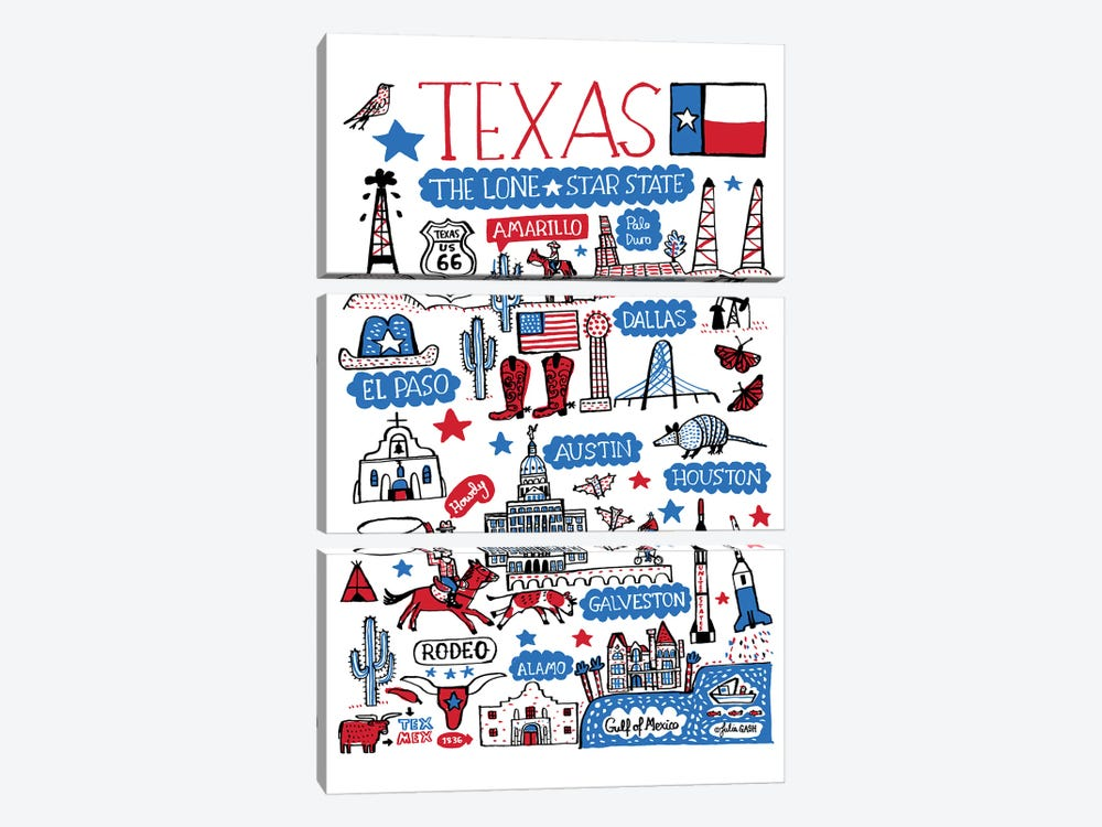 Texas by Julia Gash 3-piece Canvas Artwork