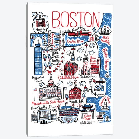 Boston Canvas Print #GAS26} by Julia Gash Canvas Art