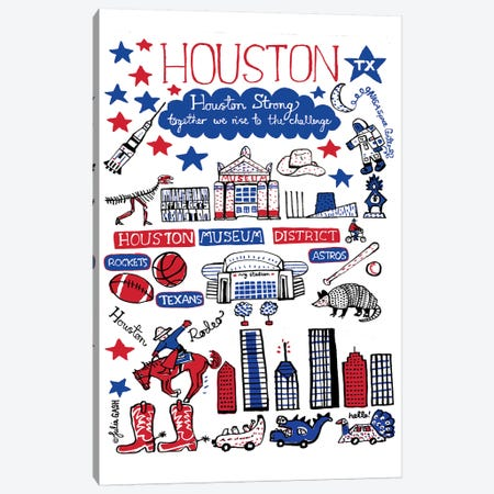 Houston Canvas Print #GAS30} by Julia Gash Canvas Wall Art