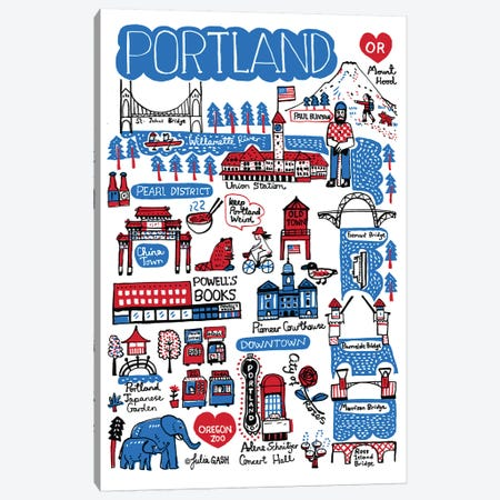Portland Canvas Print #GAS34} by Julia Gash Art Print
