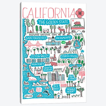 California Canvas Print #GAS42} by Julia Gash Canvas Art Print