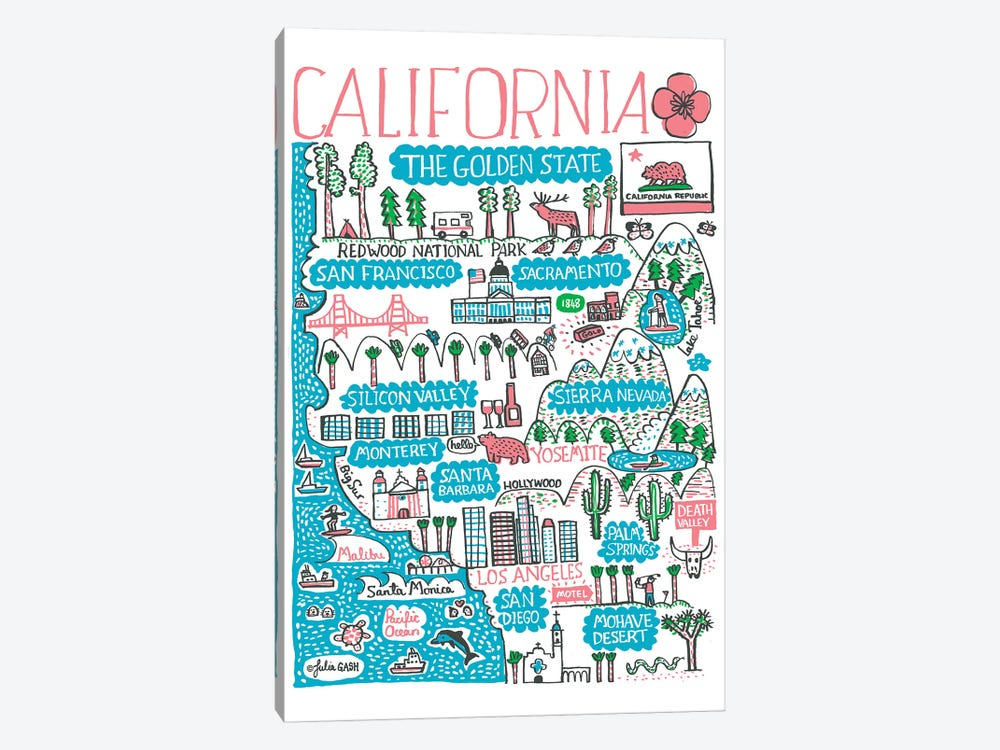 California by Julia Gash 1-piece Canvas Wall Art