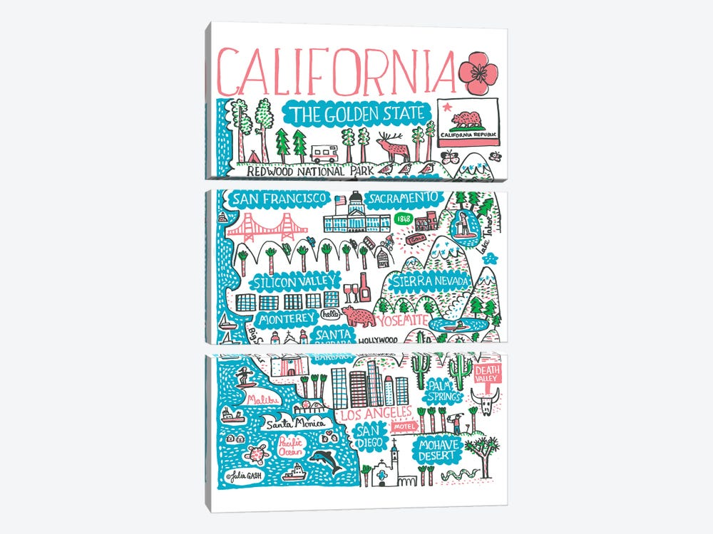 California by Julia Gash 3-piece Canvas Artwork