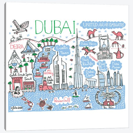 Dubai Canvas Print #GAS45} by Julia Gash Canvas Artwork
