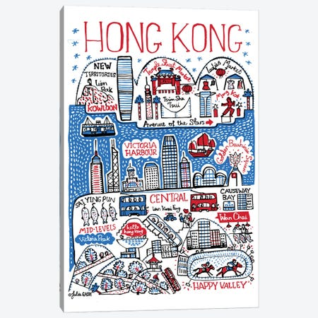 Hong Kong Canvas Print #GAS48} by Julia Gash Art Print