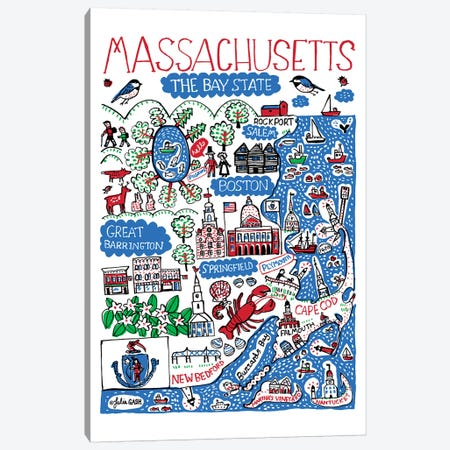 Massachusetts Canvas Print #GAS4} by Julia Gash Canvas Art