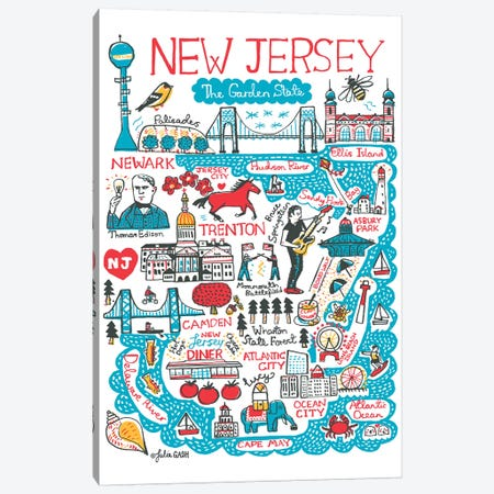 New Jersey Statescape Canvas Print #GAS52} by Julia Gash Canvas Wall Art