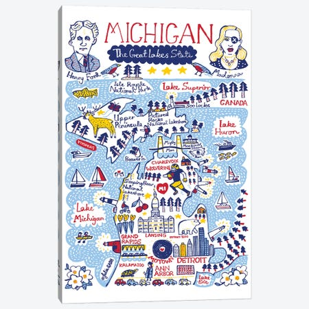 Michigan Statescape Canvas Print #GAS53} by Julia Gash Canvas Wall Art