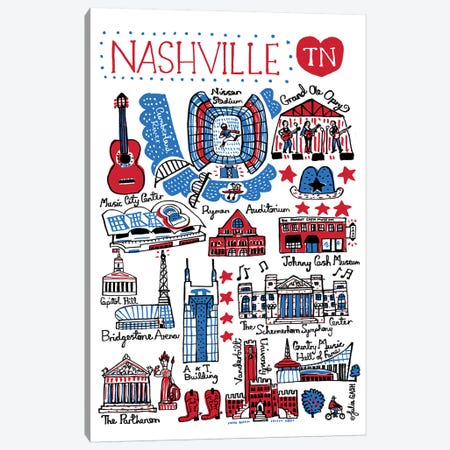 Nashville Canvas Print #GAS7} by Julia Gash Canvas Wall Art