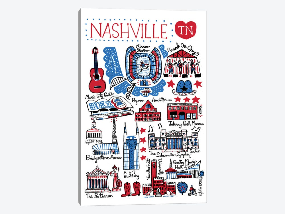 Nashville by Julia Gash 1-piece Canvas Wall Art