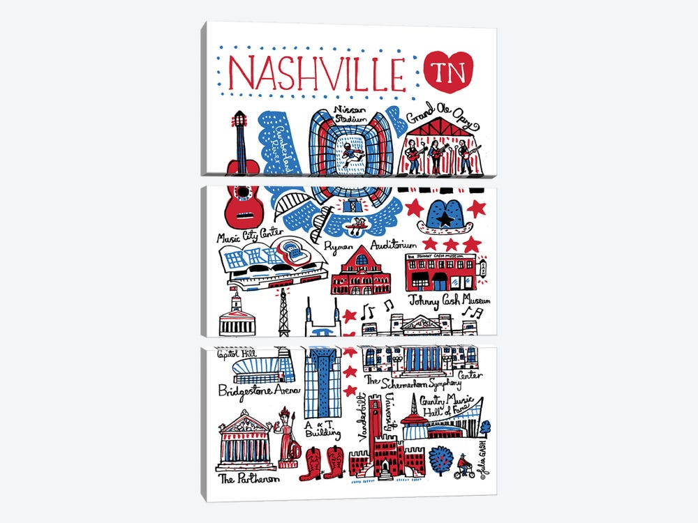 Nashville by Julia Gash 3-piece Canvas Wall Art