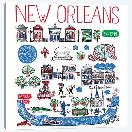 New Orleans Canvas Print #GAS9} by Julia Gash Canvas Print