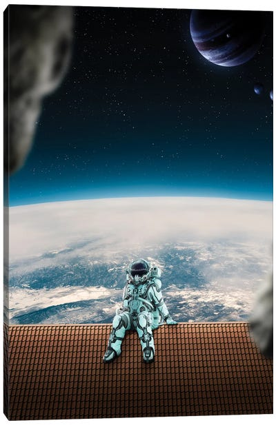 Astronaut On The Roof Canvas Art Print