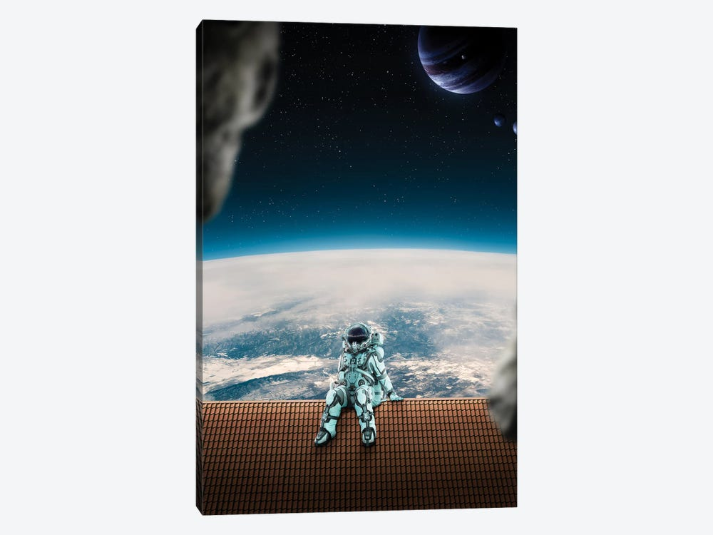 Astronaut On The Roof by Gabriel Avram 1-piece Canvas Wall Art
