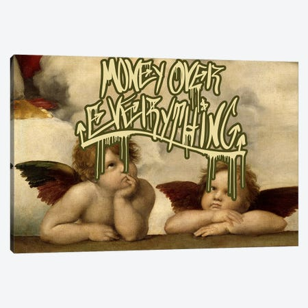 Money Over Everything Canvas Print #GBC10} by 5by5collective Canvas Art
