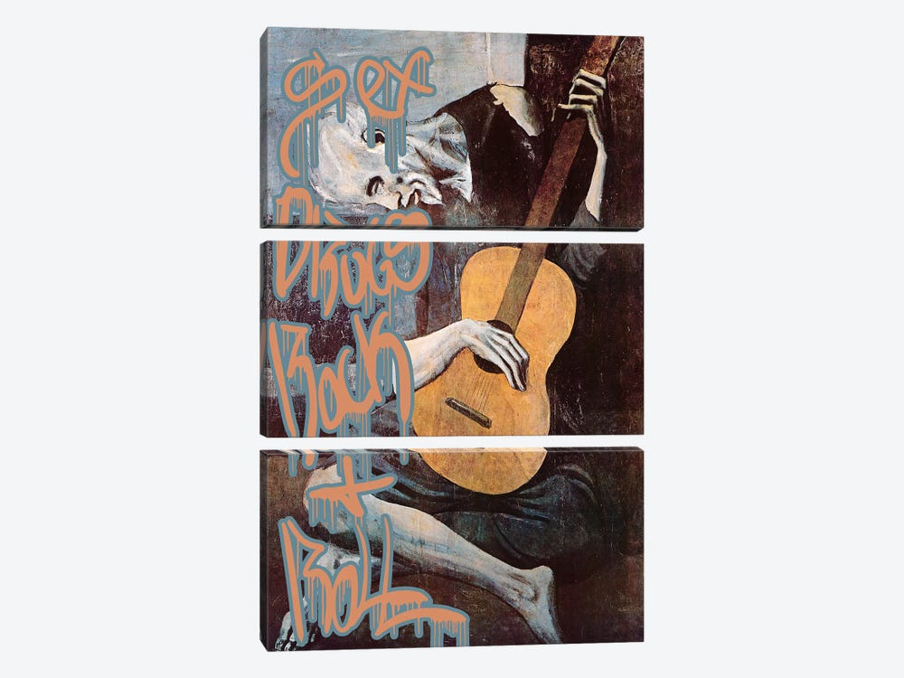 Sex, Drugs, Rock and Roll by 5by5collective 3-piece Canvas Wall Art