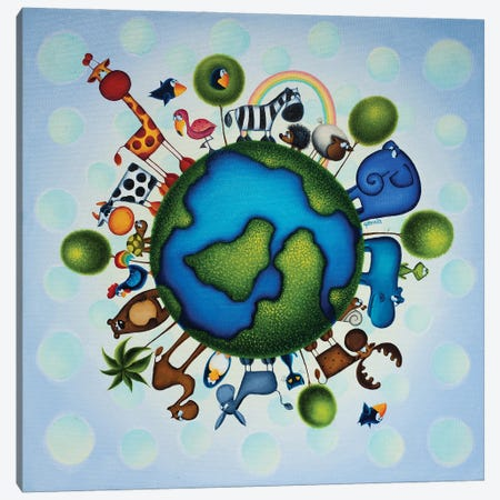 Happy Earth Canvas Print #GBE17} by Gabriela Elgaafary Canvas Print