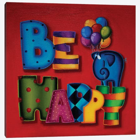 Be Happy Canvas Print #GBE21} by Gabriela Elgaafary Art Print