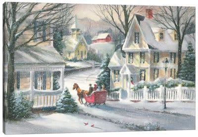 Village Sleigh Ride Canvas Art Print