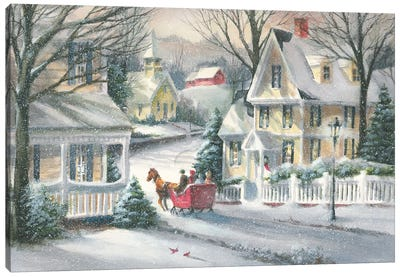 Village Sleigh Ride Canvas Art Print